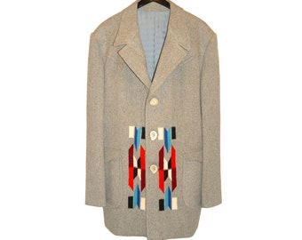Nudie's Rodeo Tailors Coat, Chimayo Woven Wool, Rare Custom Dated One of a Kind, Vintage 1960s