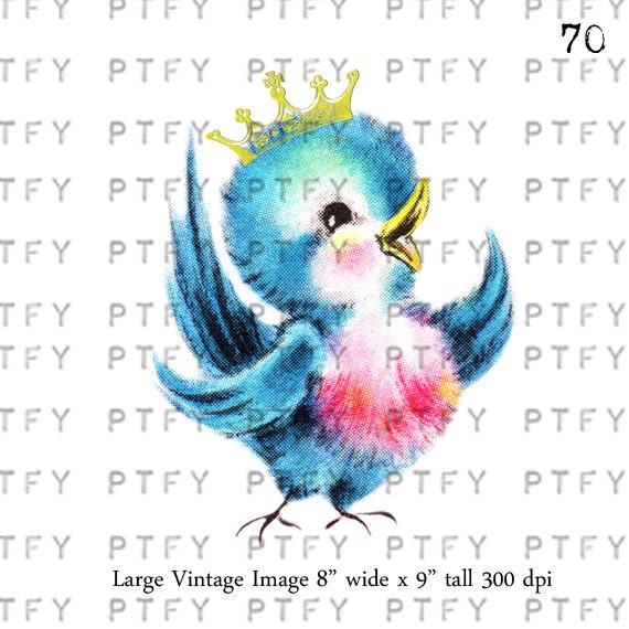 Vintage Greetings Card Vintage Bluebird LARGE Digital Image Download Sheet Transfer To Totes Pillows Tea Towels T-Shirts