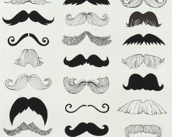 Alexander Henry Fabric-Where's My Stache-Natural 1 YD