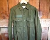 Vintage Military Shirt Jacket, Mens S M
