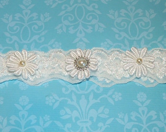 Ivory Off White Venise Lace Flower Garter with Rhinestones and Pearls. Vintage Garter. Bridal Garter. Wedding Garter - Ready To Ship