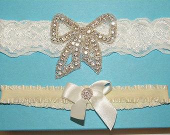 Ivory Cream Wedding Garter Set, Ivory Stretch Lace Bridal Garter Set, Heirloom Rhinestone Garters, Rhinestone Bow Garter - Ready To Ship