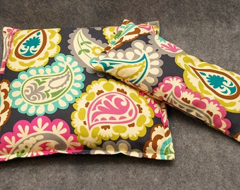 Corn Bag Microwave Heating Pad -- Paisley Party Gift Set