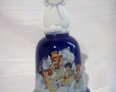"""Vintage Avon Porcelain Christmas Bell 1992 """"Heavenly Notes"""", Home Decor, Avon Collectible, Blue China Bell"""