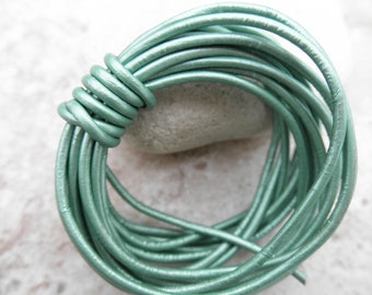 Metallic Lawn - 2mm Leather Cord - By the Yard