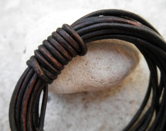 Natural Antique Brown- 1mm Leather Cord - By the Yard