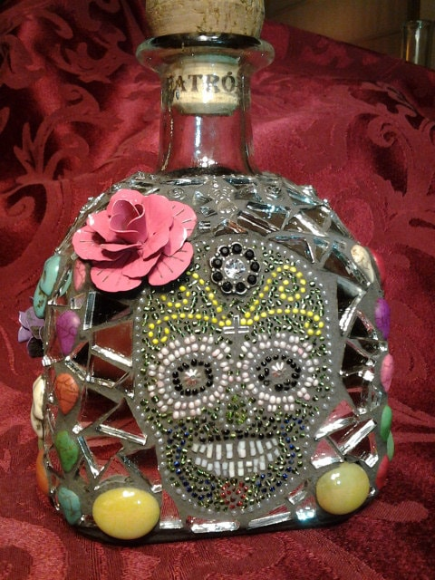 Day of the Dead Patron Bottle Sugar Skull Design