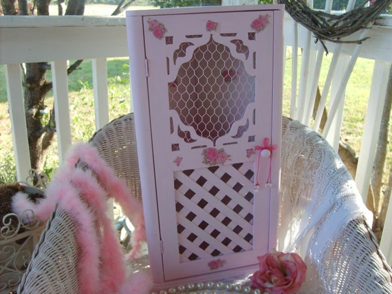 RESERVED  for  SHERRY S ( Last of 2 Payments.).So Shabby Chic   Pink French Style Corner Cabinet  Hutch   Roses Galore    Paris   Ooh La La
