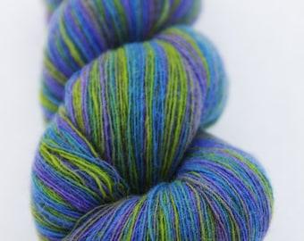1 ply Kauni Wool Yarn, Self-Striping Yarn, Blue Green Lilac