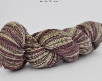 1 ply Kauni Wool Yarn 8/1, Self-Striping Deep Pink Grey-Vanilla White