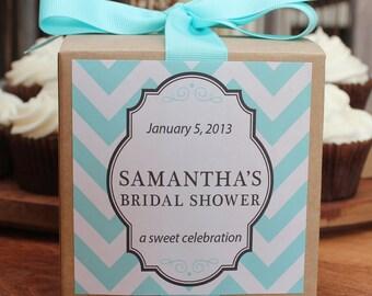 8 - Bridal Shower Favor Cupcake Boxes - Chevron Design - ANY COLOR - wedding favors, baby shower favors, bridal shower favors
