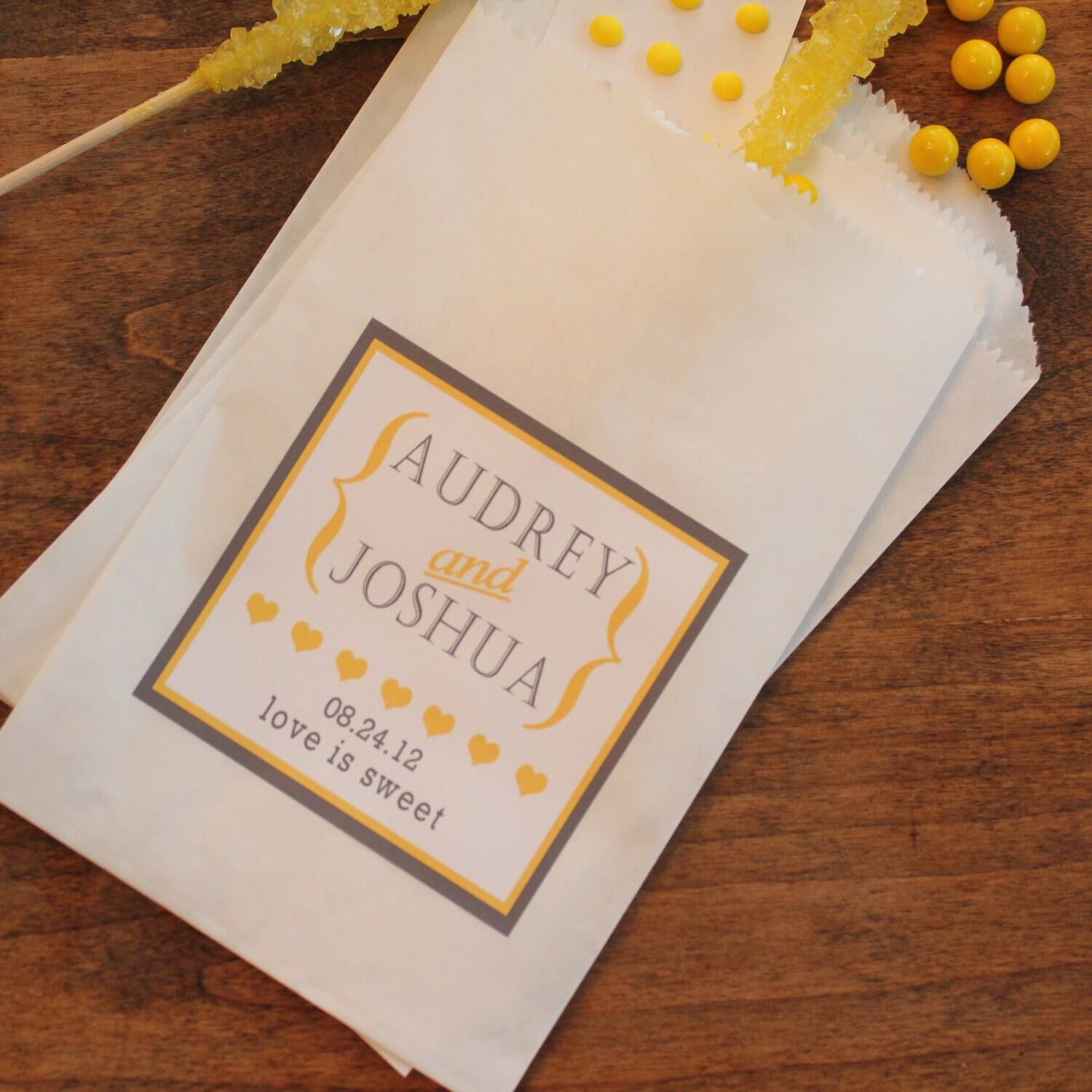 Wedding Favor Bag Labels : 24 Wedding Favor Bags with Personalized Audrey by thefavorbox