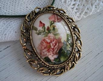 Vintage Cameo Glass Pendant Pin Brooch Necklace Handmade Roses OOAK Artwork Valentine