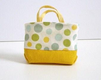 MNF/Minifee/Unoa/Slim MSD Large Mustard and Green & Blue Polka Dot Canvas Tote Bag