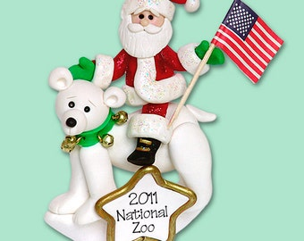 Santa on Polar Bear HANDMADE POLYMER CLAY Personalized Christmas Ornament