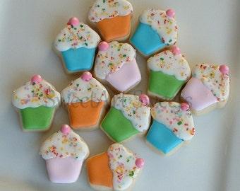 Cupcake cookies - decorated cookies - birthday cookies - party favors - decorated cookie favors - 2 dozen MINI cupcake cookies