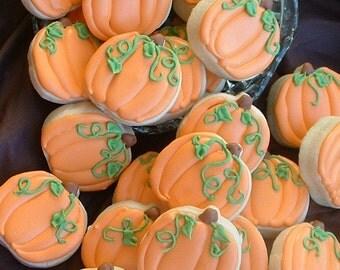 Pumpkin cookies - fall cookies - 2 dozen SMALL pumpkin cookies - Halloween cookies - decorated cookie favors