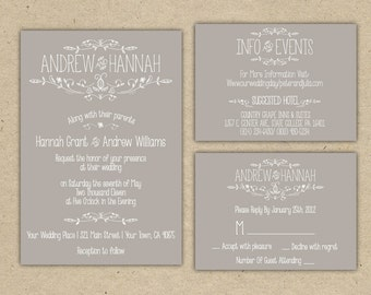 Wedding Invitation set - Vintage, grey, brown Printable DIY Template. country chic outdoor wedding (1054)