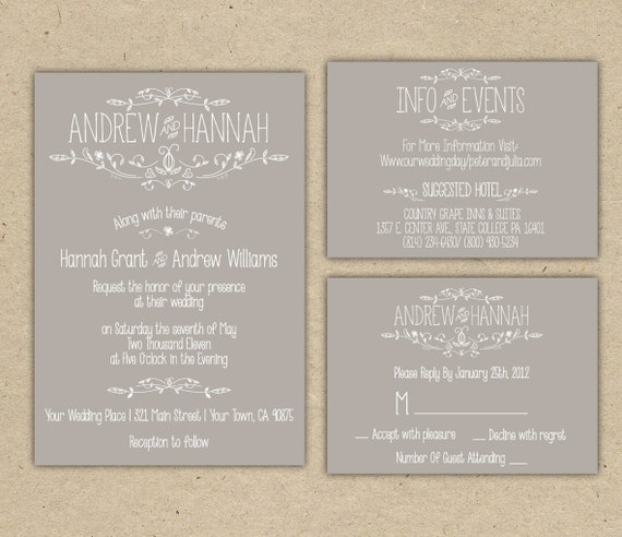 Outdoor Wedding Invitation Wording: Items Similar To Vintage Wedding Invitation P R I N T E D