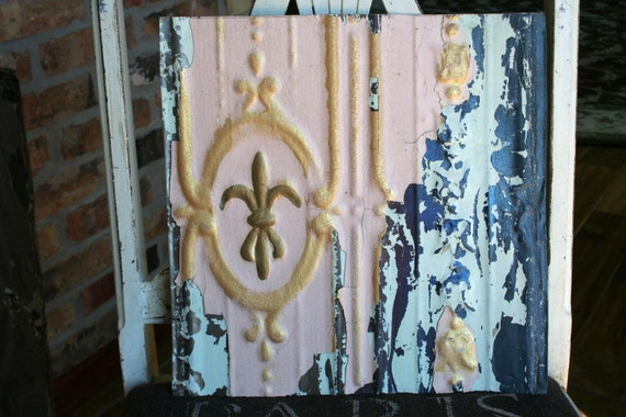 """Antique Ceiling Tile -- 12"""" x 12""""  --  Pink Colored Paint with Gold Metallic Highlights -- RARE"""