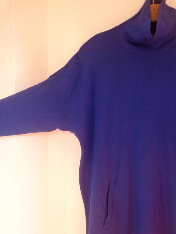 Vintage Marimekko Dress, Finland, Royal Blue Wool, Shoulders Pads, Dolman Sleeves, High Neck