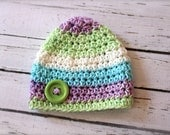 Crocheted Cotton Baby Button Hat - Newborn - Pastel Stripes