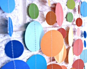 1st Birthday Party Decoration ... High Chair Banner ... paper circle confetti garland ... pom dot party decor banner .... 12 feet