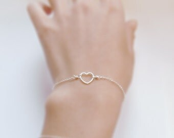 A place for you in my heart (bracelet) - Small sterling silver open heart