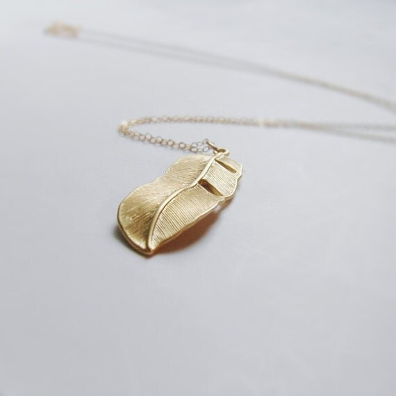 Flying for freedom LONG (necklace) - 14k gold plated feather & Gold Filled