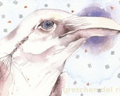 SPIRIT RAVEN  aceo watercolor giclee PRINT bird totem spirit mystical - Free Shipping