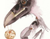 DELIVERANCE  aceo watercolor RAVEN giclee PRINT bird totem spirit  - Free Shipping