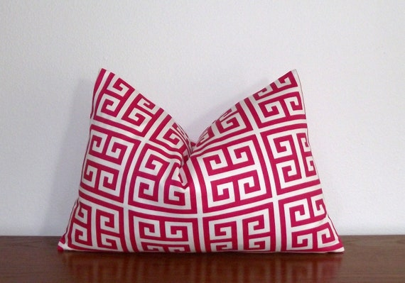 "Greek Key- Decorative Pillow Cover 12x18"" Lumbar- Geometric- Pink- White"