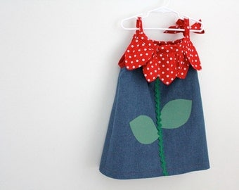 A Fun, Floral Frock for your Little One.  Polka Dot Cotton and Denim Pillowcase Dress .  Ready to Ship Size 12 Months.