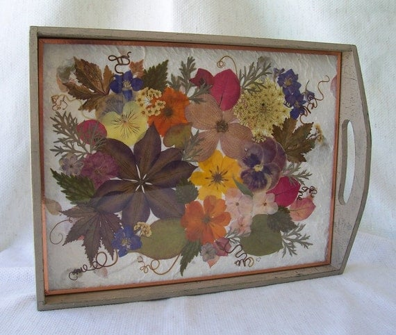 Extra large wood crackle paint finished tray, asst. pressed flowers and leaves on background of handmade flower petal paper, clear glass