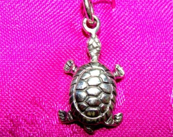TURTLE Charm or Necklace Pendant in STERLING Silver