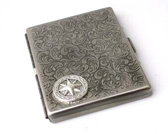 Steampunk - Metal COMPASS Cigarette Case Nautical - Slim Wallet - Large Card Case - Antique Silver By GlazedBlackCherry S3