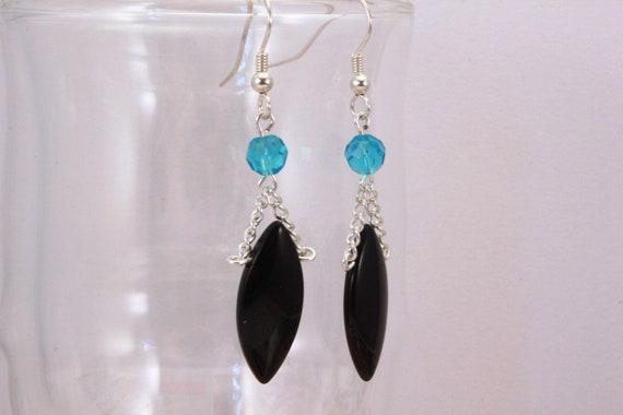 Black & Blue Dangle Earrings