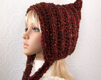 Pixie hat - hand crocheted hat - women's hat - Winter Fashion by Sandy Coastal Designs - ready to ship