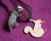 SALE Wooden squirrel Pendant on black Ribbon Necklace.