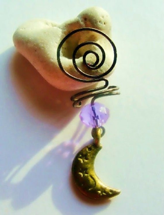 Purple Ear Cuff, Moon Charm, Antiqued Bronze Wire Wrapped Art