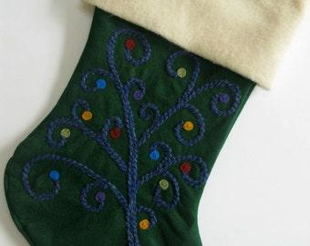 "Traditional Christmas Stocking-- ""Whimsical Wishing Tree"""