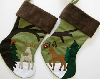 "Christmas Stockings for Couple -- ""Dear Deer Couple"""