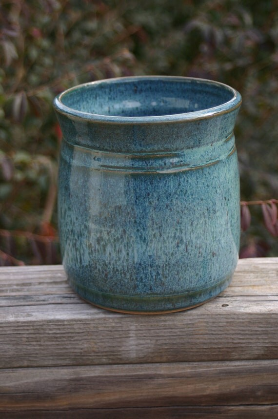Pottery Utensil Holder Aqua Glaze Seagrove Nc By Beaverspottery