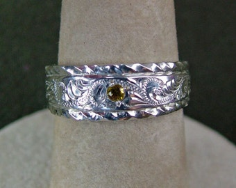 Sterling Silver and Golden Topaz engraved Ring