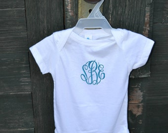 MONOGRAMMED White Baby Onesie - Great for baby showers
