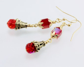 Red Crystal Dangle Earrings - Vintage Style