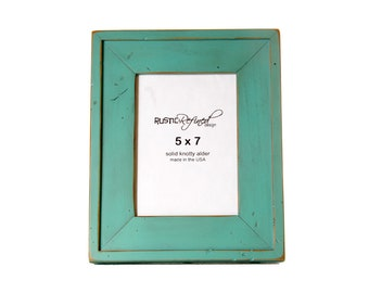 "5x7 picture frame with 2"" border width - Turquoise"