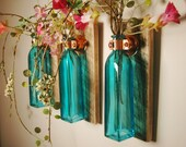 Square Glass Bottle Trio mounted on Wood Base for unique rustic wall decor bedroom decor kitchen decor