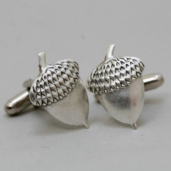 Men's Cufflinks Acorns Antiqued Silver Vintage Style  Fashion Accessories