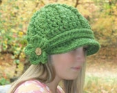 Grass Visor Beanie with Detachable Flower, Newsboy, Cap, Hat, Chunky, Ready to Ship